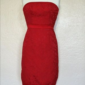 Badgley Mischka Red Lace Cocktail Dress Size 6